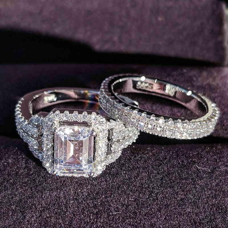 Solid 925 Sterling Silver Zircon Wedding Ring Set For Bridal Women Men Finger Gift Africa Zambia Botswana Fashion Jewelry R4835