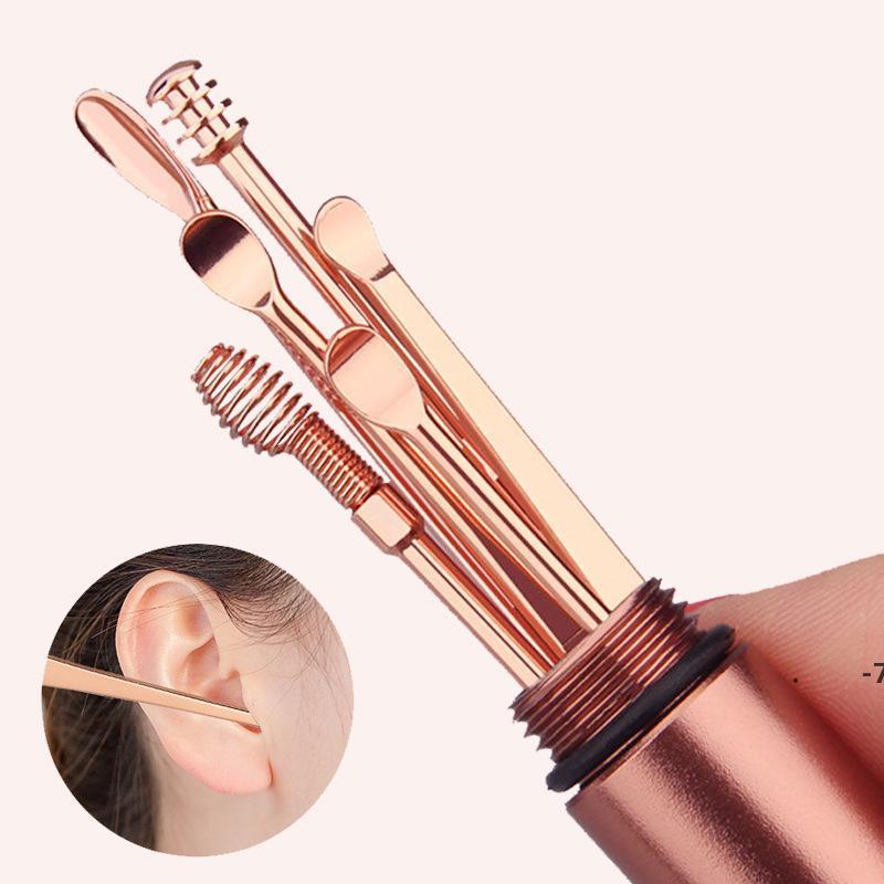 6 Pz / set in acciaio inox acciaio inox oro a spirale a spirale orecchio cucchiaio di rimozione della cera detergente multifunzione porta portatile per la cura del raccoglitore di cura degli utensili di bellezza FWD6375