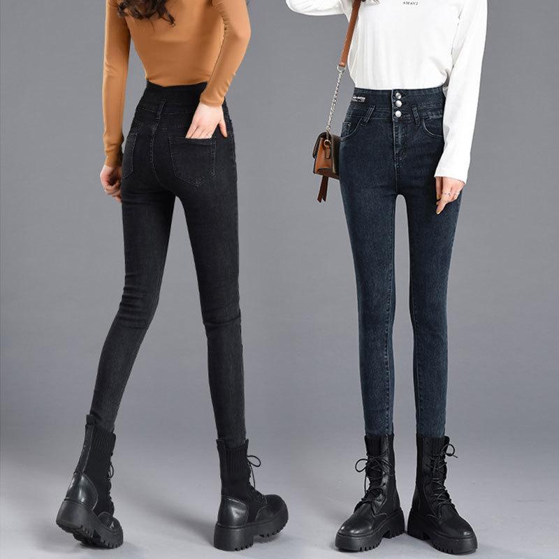 JXMYY Autunno e inverno vita a vita alta e velluto jeans petto ispessiti con pantaloni da donna Pantaloni per matita stretta pantaloni a matita 210412