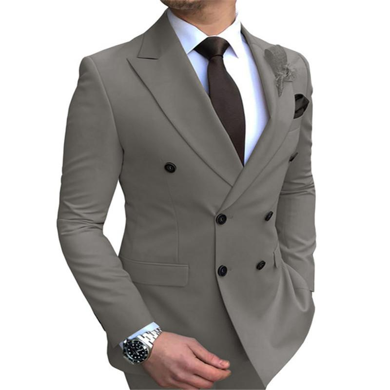 Suits Men's Slim Fit Double-Breasted Notched Lapel Suit Blazer Only JacketER07