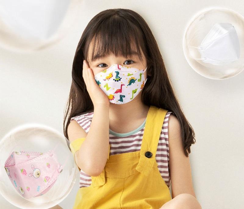Masque à la poussière jetable pour enfants 3 ~ 12 ans Design 10 Packs 4-Couche 3D Fish Bouche Dessin animé Impression mignonne Enfants Student Face Masques