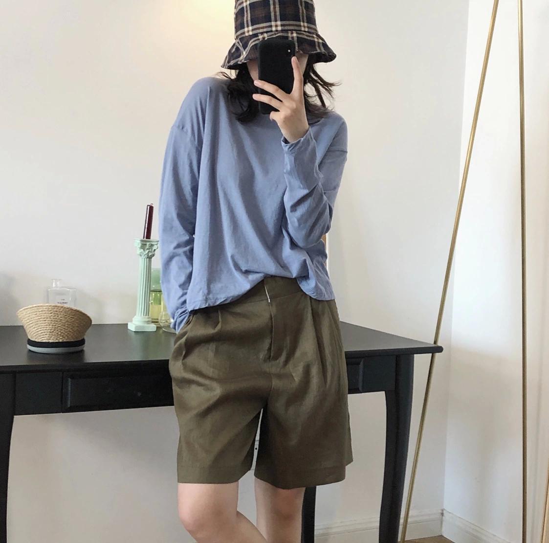 Women's Shorts Louvre summer Korean version of fashion suit trousers show thin linen leisure five minute pants women