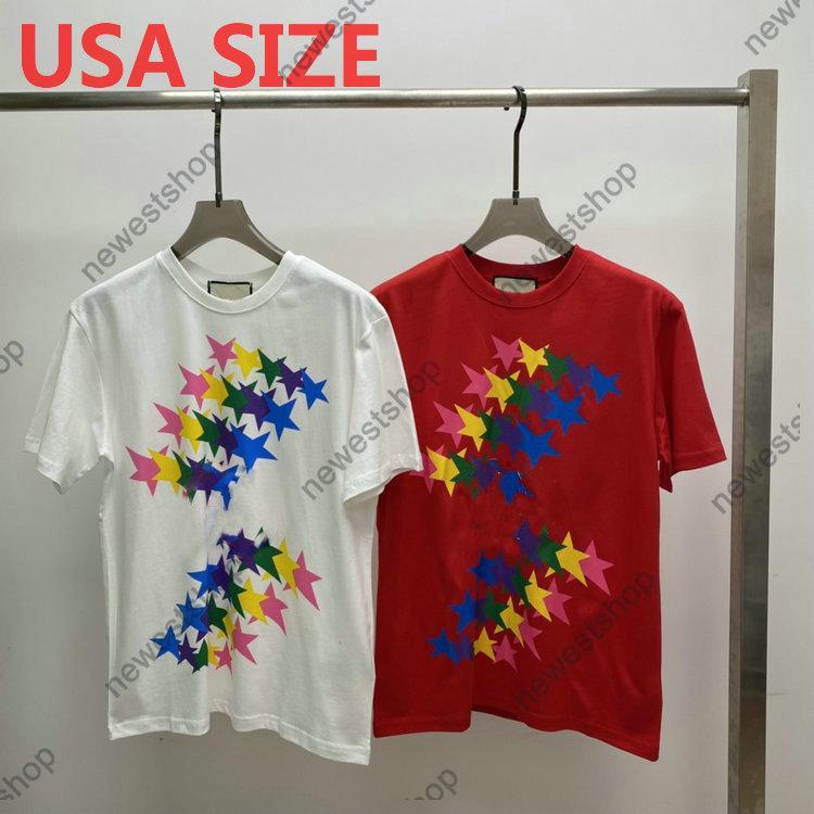 2021 diseñadores para hombre para mujer t shirts Colorido estrella impreso hombre París moda camiseta superior de calidad camiseta calle manga corta luxurys camisetas negro negro