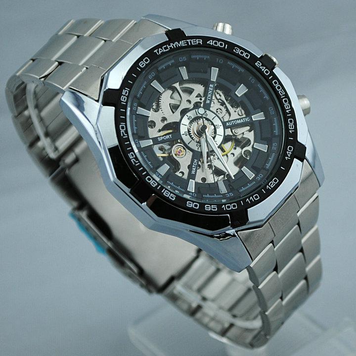 Hot 2021 Vincitore dell'acciaio inossidabile Brand Auto-Vento Scheletro automatico degli orologi, orologio da polso da uomo 30pcs DHL spedizione