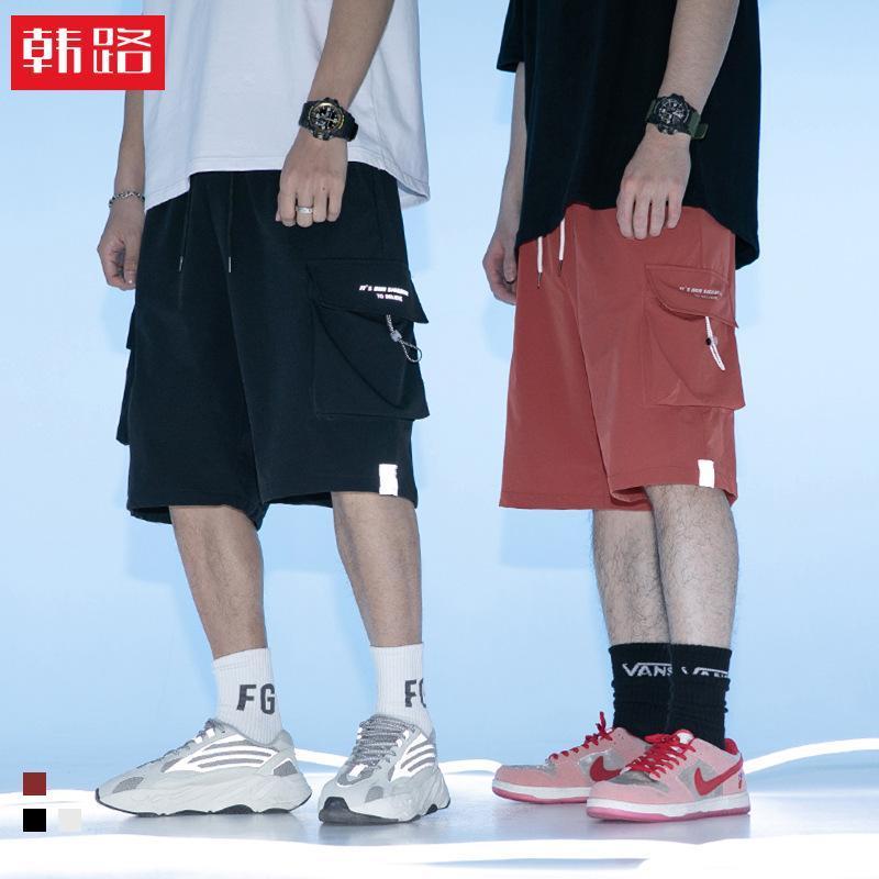 Jeans masculinas Hanlu's Principais série de 2021 Verão Ferramental Capris Solto Funcional Bolso De Bolso De Bolsa Desgaste