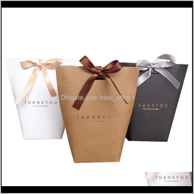 Evento Festivo Suprimentos Home Jardim Drop Drop 2021 Bag Obrigado Merci Presente Envoltório Papel Para Presentes Favores Do Casamento Box Package Festa de Aniversário