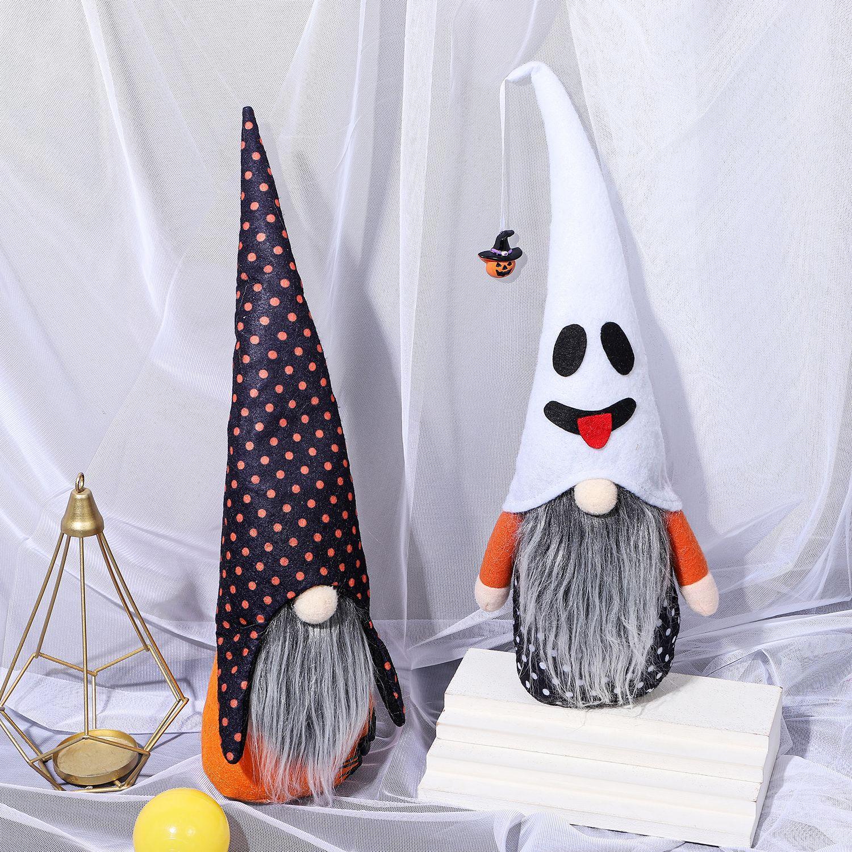 Halloween Gnomes Plush Decor Ghost Pumpkin Hat Faceless Doll Standing Decoration Shopping Window Ornament w-00781
