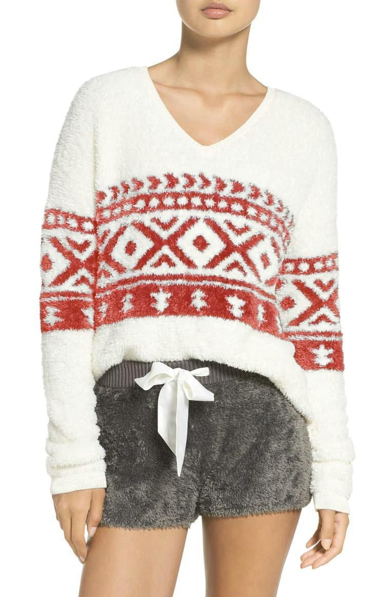 Hoodies das mulheres moletons moda de natal outono impresso flagelo solto camisola senhora roupa tops manga longa v-pescoço casual