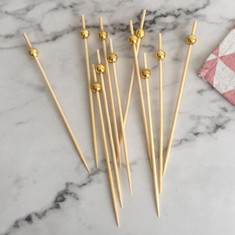 PCS 12 Cocktail Picks Creative Runde Perlen Vorspeise Obst Zahnstocher Party Supplies (Goldene) Gabeln