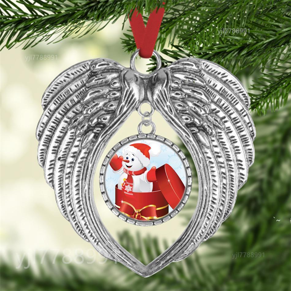 Sublimation Leerzeichen Weihnachtsverzierung Verzierung Dekorationen Engelsflügel Form Blank Fügen Sie Ihr eigenes Bild und Hintergrund hinzu. OWC7444