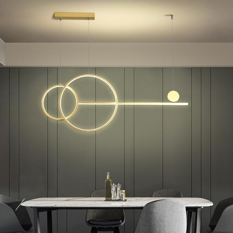 현대 LED 샹들리에 조명 거실 침실 주방 샹들리에 흑백 / 골드 교수형 조명기구