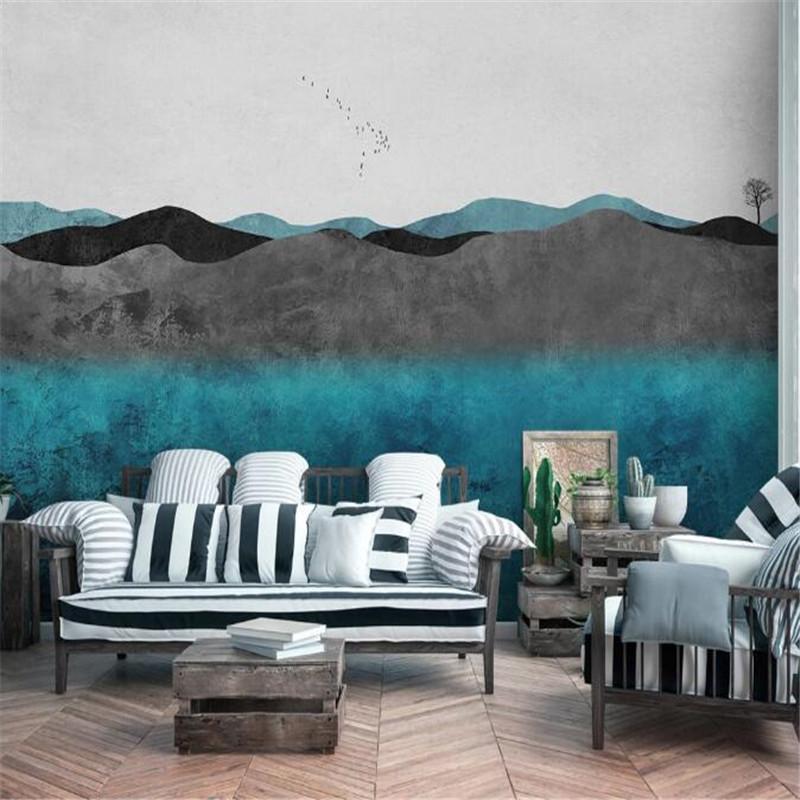 Wallpapers Milofi Size Custom 3D Printing Wallpaper Mural Modern Minimalist Hand-painted Ink Landscape Decoration Background Wall