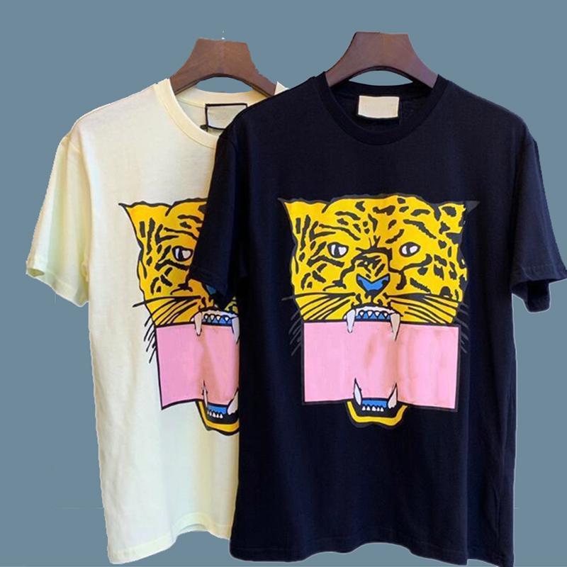2021 동물과 함께 여름 패션 망 티셔츠 인쇄 디자이너 짧은 소매 레이디 티셔츠 캐주얼 화이트 블랙 탑 M-2XL