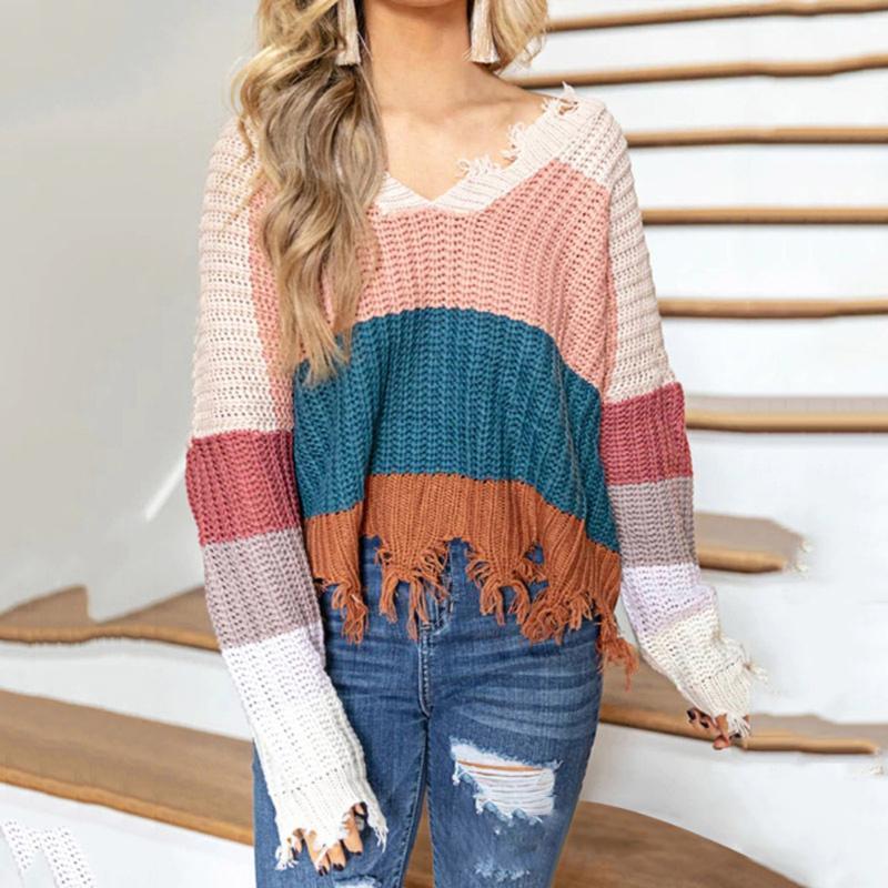 Женская сексуальная вязаная шерсть с длинным рукавом V-образным вырезом цвет полосатый свитер свободный плюс размер пуловер падение зима 2021 свитеров Chandail