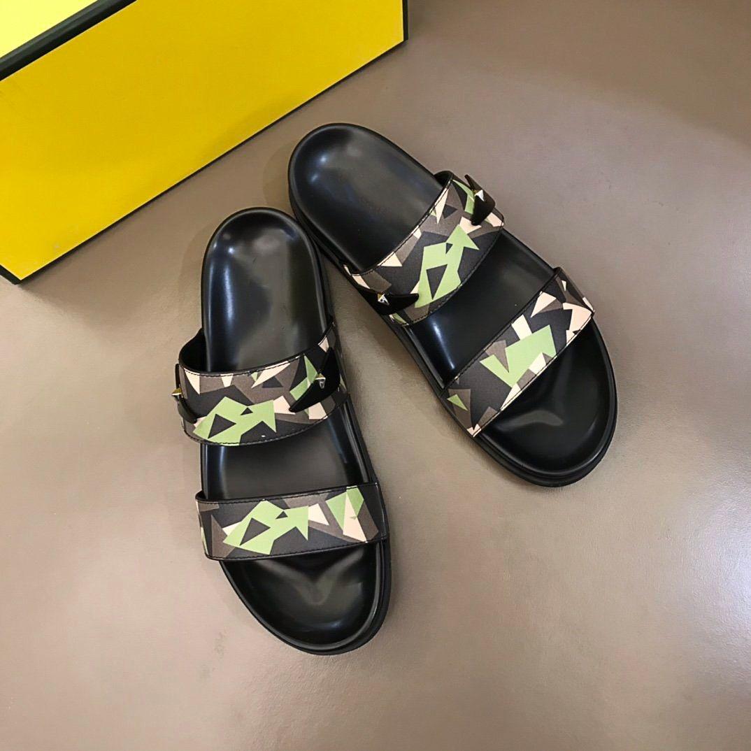 fendi Lüks Moda Tasarımcısı Rahat Marka erkek Yaz Rahat Terlik Geniş Soled Sandalet Boyutu 38-45