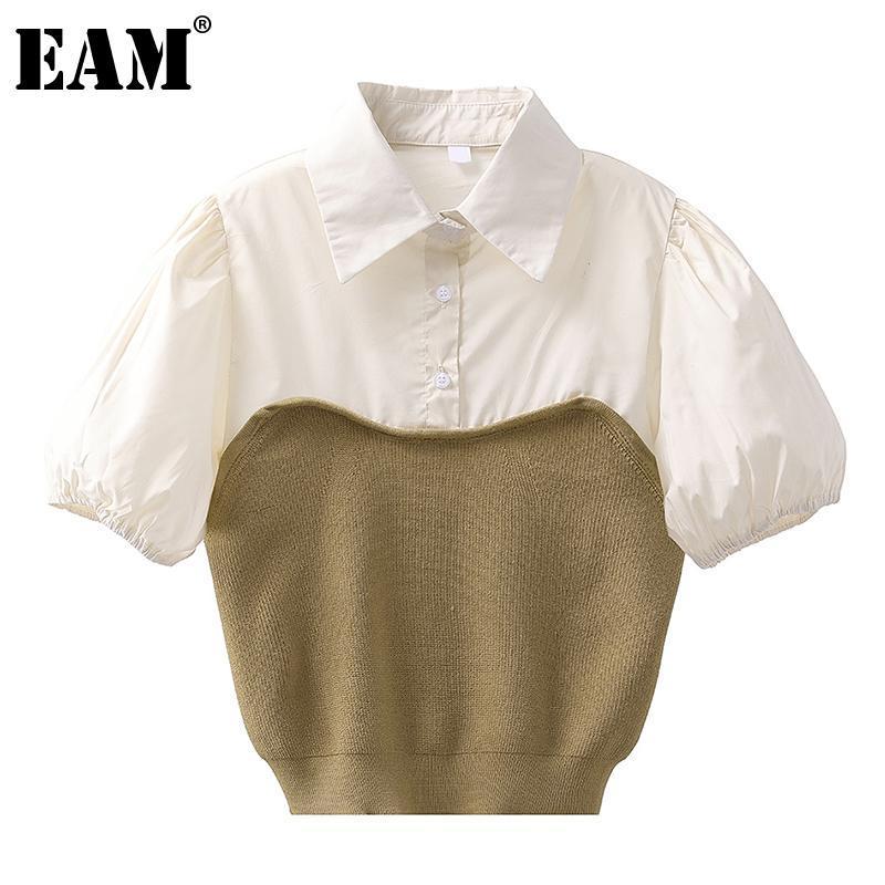 [EAM] Frauen Khaki gespleißt KnitiTng Bluse Revers Kurz Hauch Hülse Lose Fit Hemd Mode Flut Frühling Sommer 2021 1DD7433 Frauen Blusen