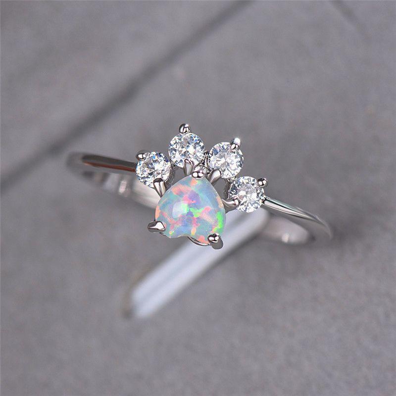 Sevimli Boho Kadın Mavi Beyaz Yangın Opal Yüzük Kristal Küçük Aşk Kalp Nişan Yüzüğü Köpek Kedi Pençe Pençe Yüzükler Kadınlar Y0420