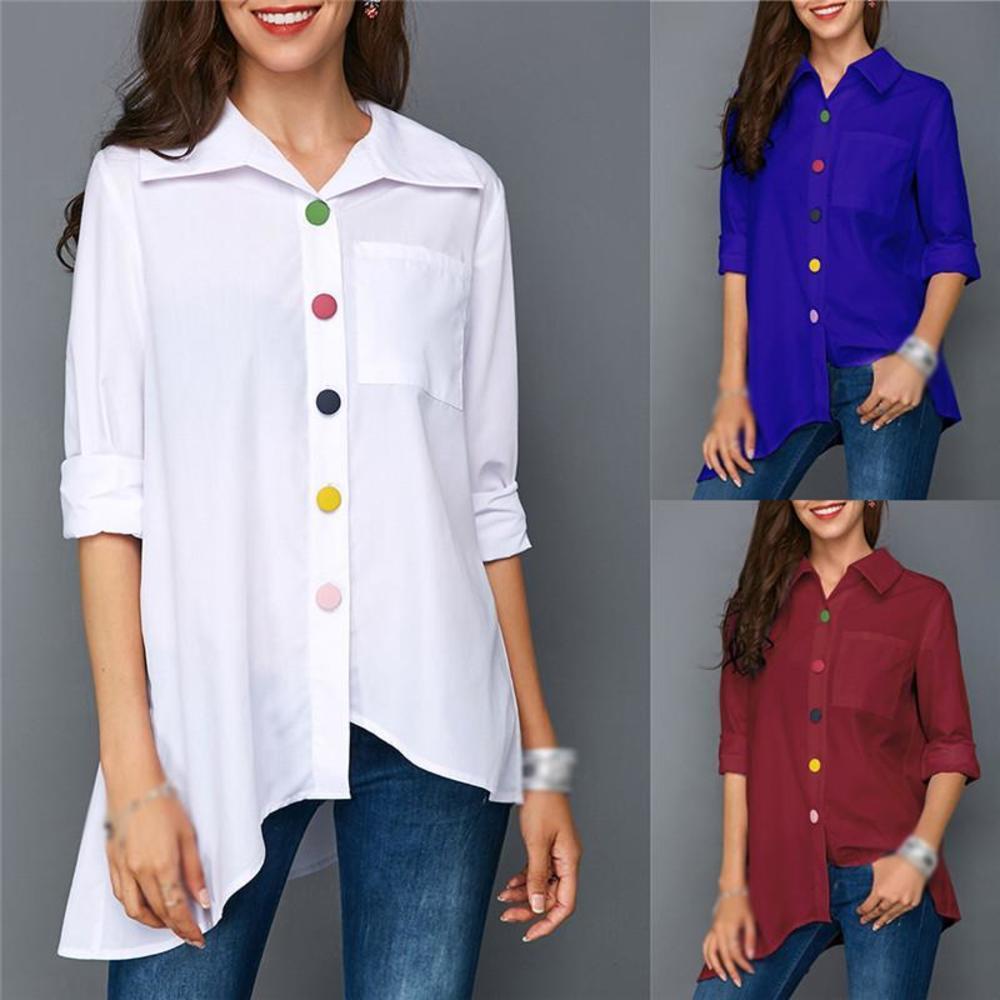 حجم كبير الملابس بلوزة 2021 الخريف زائد حجم طويلة الأكمام قميص أبيض ملون زر الجيب الإناث أعلى أزياء المرأة تونك