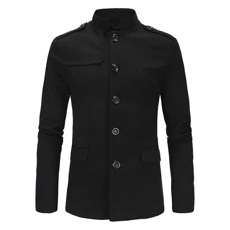 Stand Men Moda Blazer Blazer Collar Business Lavoro Party Prom Nuova Giacca Casual Suit Giacca Mao Stile Slim Fit Youth Vita quotidiana Grigio nero