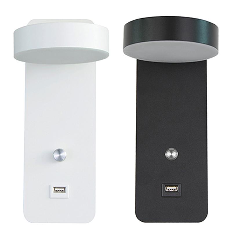 단순한 벽 램프 USB 포트와 빛을 조광하는 현대 거실 sconce