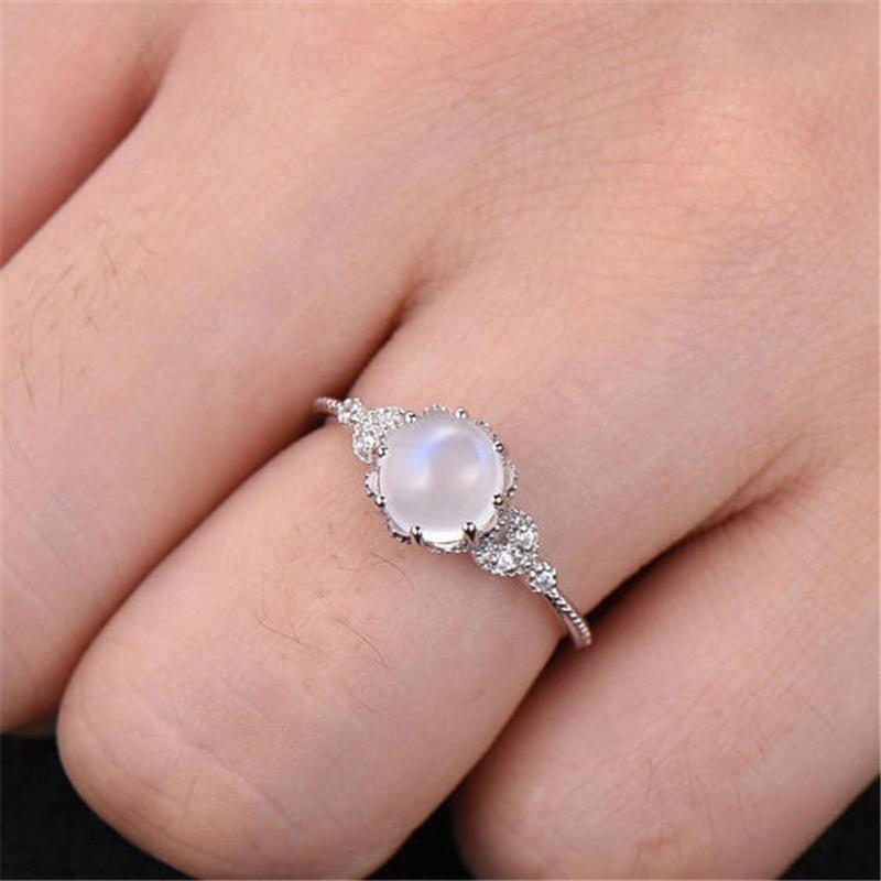 Cluster Rings 2021 Fashion Exquisite Color Moonstone For Women Silver Ring Female Jewelry Accessories Party Gifts Drop