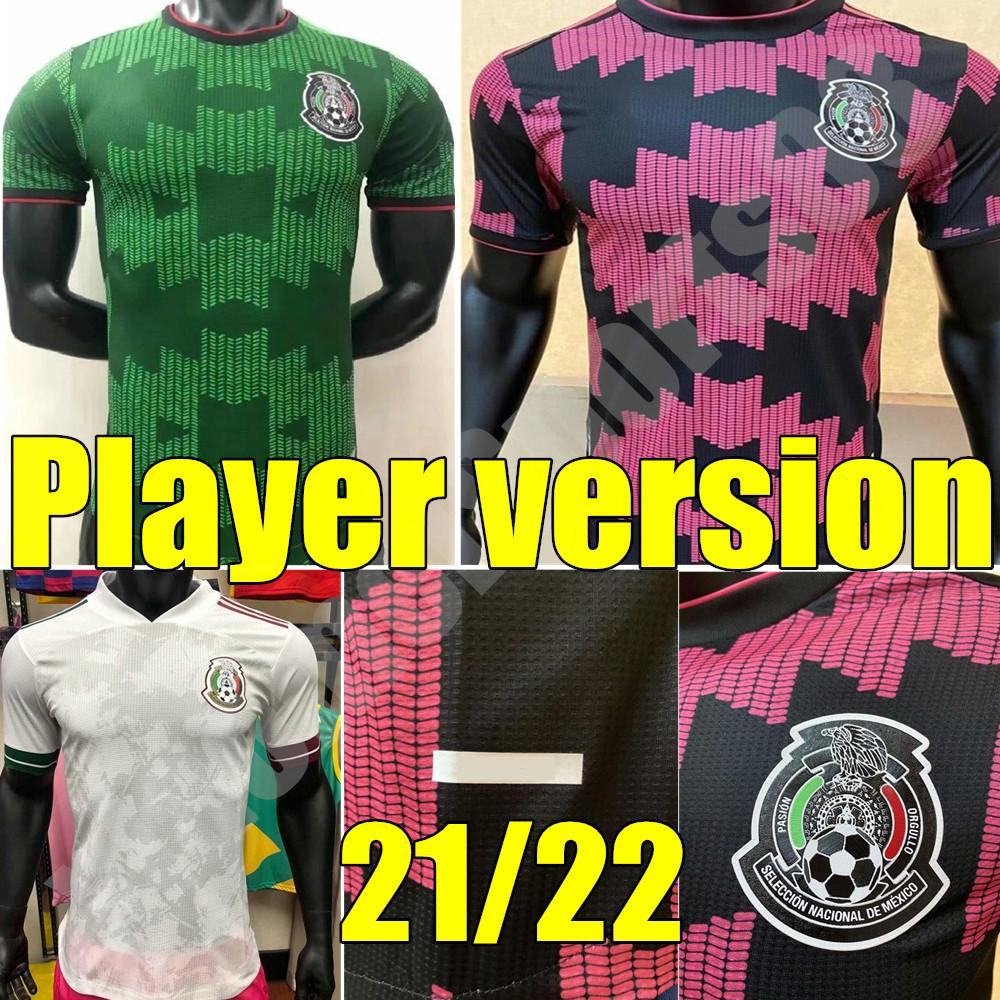 Giocatore Versione 2021 Messico Soccer Jerseys Chicharito H.lozano Dos Santos 2022 Raul Carlos Vela A.Guardado Marquez Set uniforme da calcio Set Camicia da allenamento