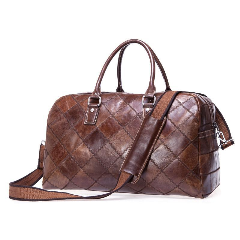 Genuine Leather Cow Skin Large Travel Outdoor Casual Holdall Bag Vintage Duffle For Men Duffel Bags