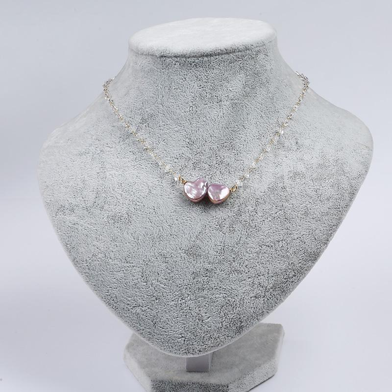 Pendant Necklaces Crystal Cultured Baroque Style Heart Coin Shape Fresh Water Natural Pearl necklace with Chain Jewelry