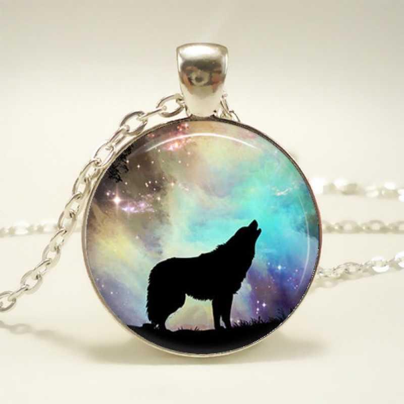 أزياء اليدوية الزجاج السحر عواء الذئب الحيوان قلادة المختنق قلادة للنساء مجوهرات حزب هدية قلادات