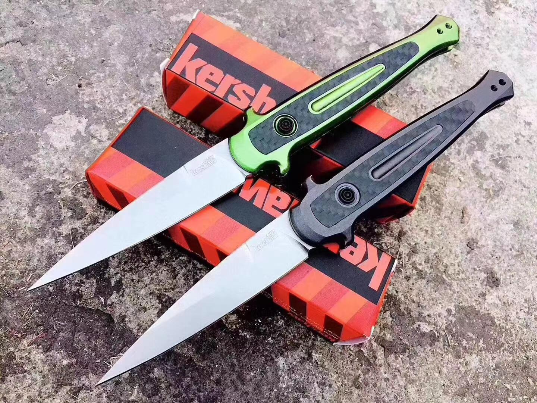 """Kershaw 7150 출시 8 자동 접이식 나이프 3.5 """"Stonewashed CPM-154 스피어 포인트 블레이드, 어두운 아 알루마이트 및 녹색 아극화 된 알루미늄 핸들 / 탄소 섬유 인레이"""
