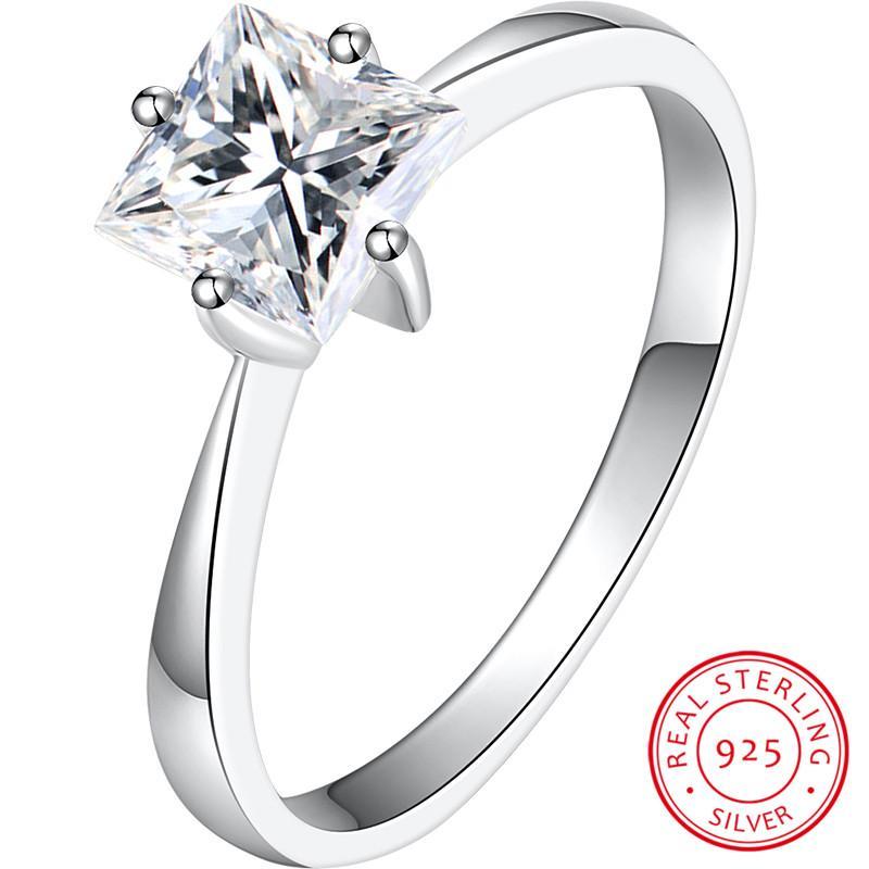 Anillo de piedra cuadrado pequeño de lujo femenino 100% Real 925 Anillos de bodas de plata de ley 925 para mujeres Promise el anillo de compromiso de amor