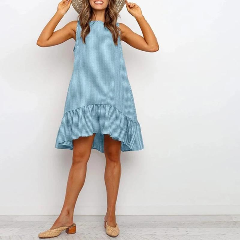 Rahat Yaz Boho Elbise Ekose O Boyun Kapalı Omuz Sundress Gevşek Artı Boyutu Fırfır Kadınlar Plaj Elbise 210419