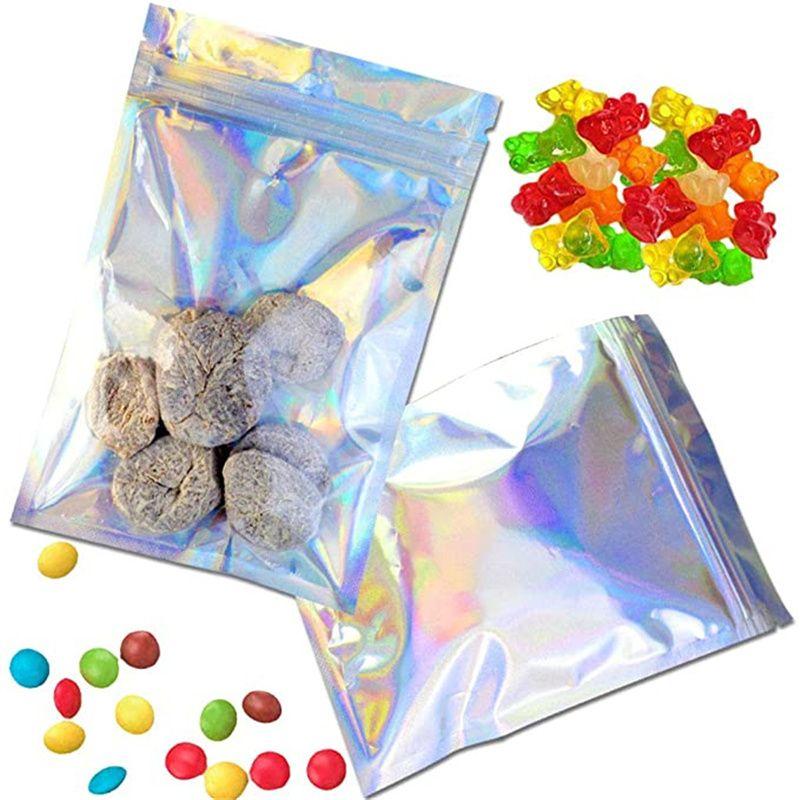 100 pçs / lote Folha de alumínio Zipper Bag Resealable Plástico Embalagem de Embalagem Sacos Holográficos Pacote Pacote Pacote Para Armazenamento De Café De Alimentos