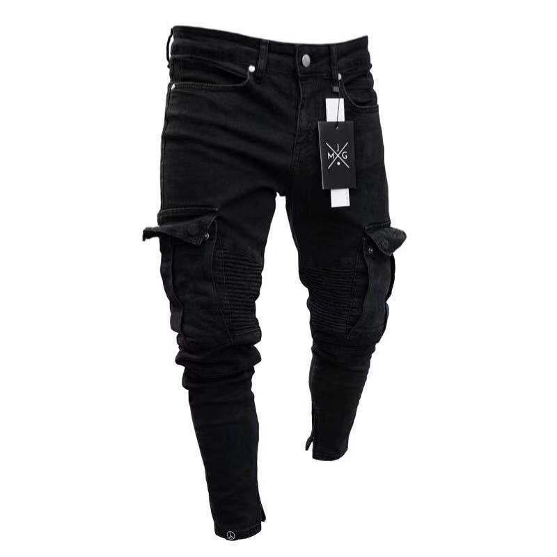Jeans matita da uomo Piccolo foro con cerniera a cerniera solida nuova moda lavato stile europeo e americano stile casual