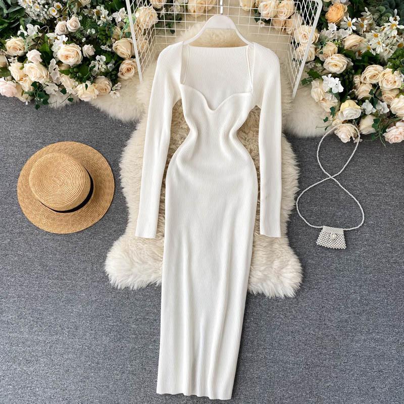 Casual Dresses Vestido vintage elegante, sensual, gola baixa, com vazamento de clavícula, justo, cintura, quadril, elástico, vestido malha, outono GPVI