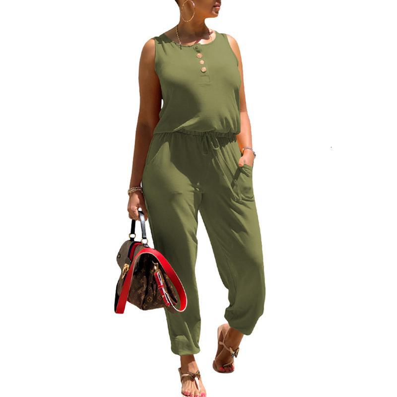 Kadın Tulum Kolsuz Katı Renk Düğme Tasarım Kıyafet Çizim Sapanlar Elastik Bel Band Wild Fashion Bodysuit Romper /