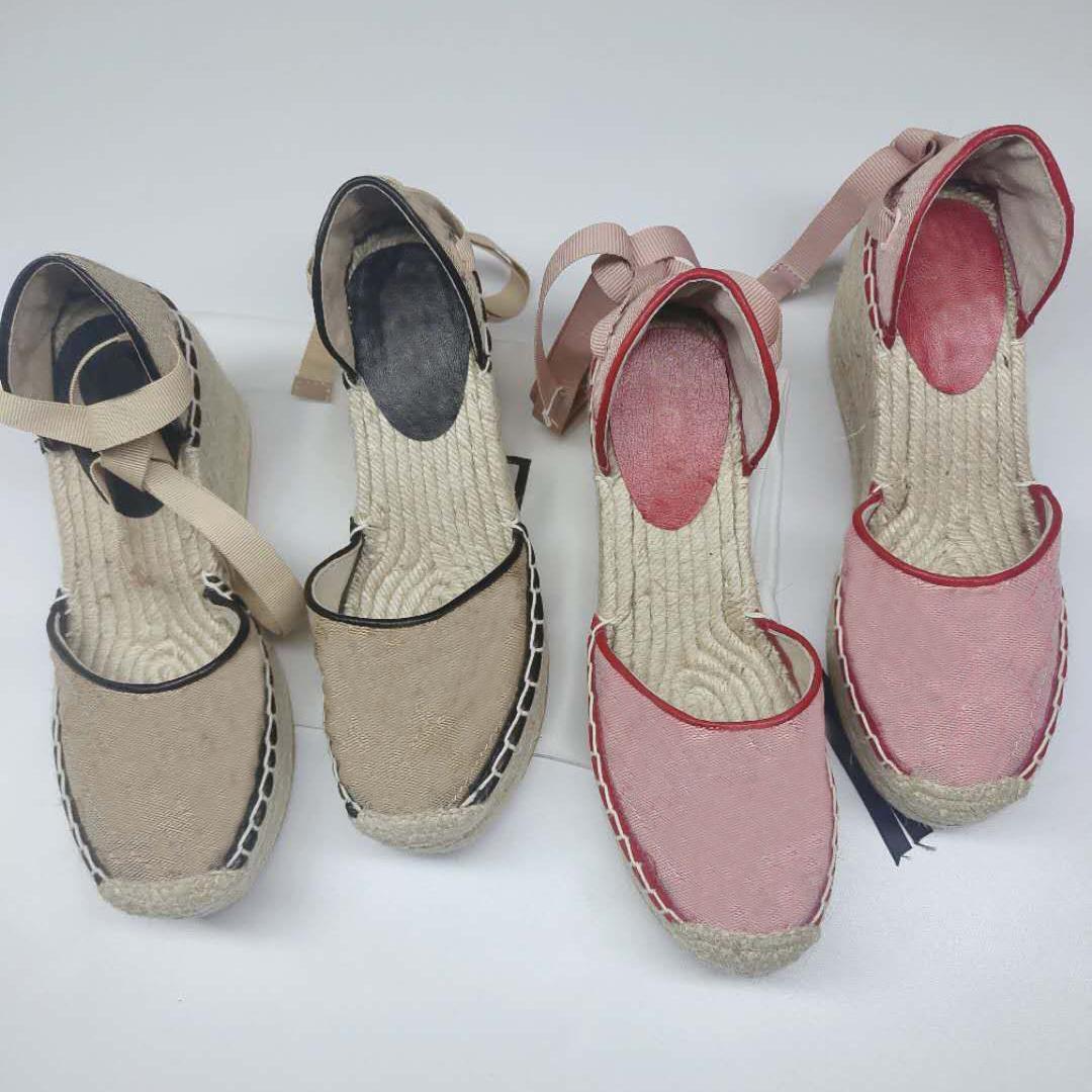 Tasarımcı Sandalet Kadınlar Espadrille Kayışı Yuvarlak Kama Topuk Heels Moda Hakiki Deri Balıkçı Gelinlik Parti Ayakkabı ile Kutusu Q-39