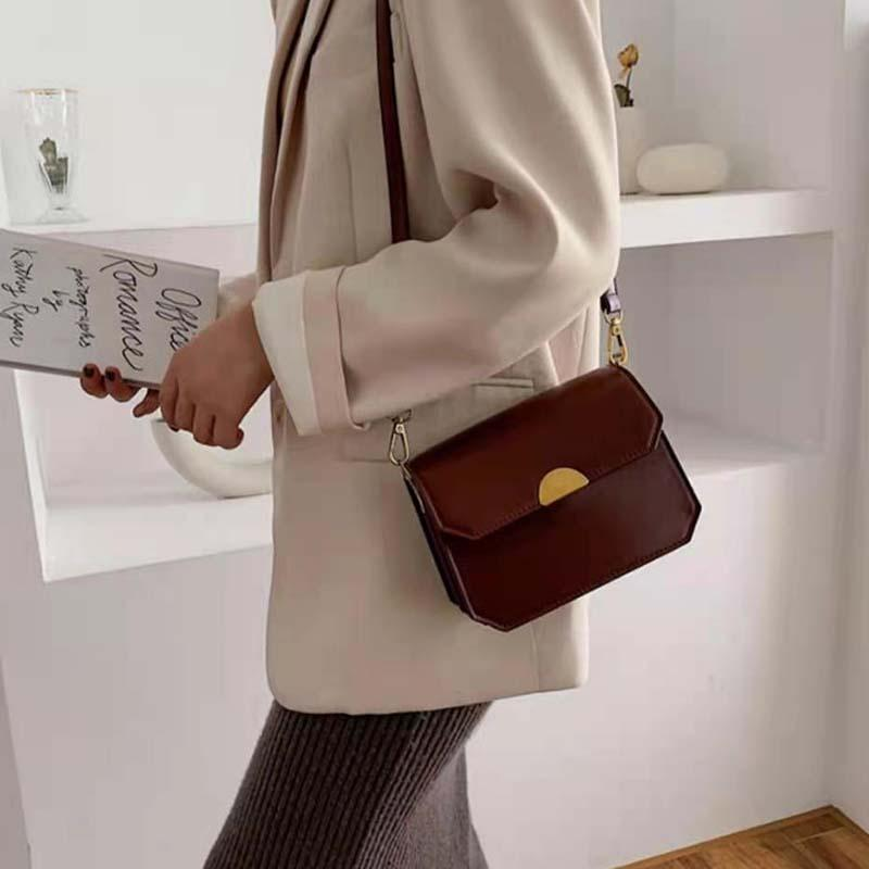 HBP جودة عالية السيدات حقائب crossbody عارضة حقيبة الكتف البني مشبك نمط جلد اصطناعي المواد مع مربع