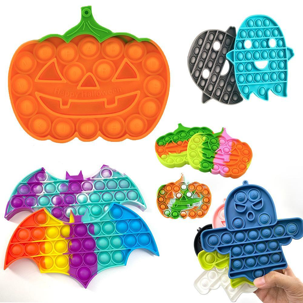 Halloween Pumpkin Push Bubble Fidget Toys Adult Stress Relief Toy Ghost Anti stress Soft Squishy Anti-Stress gifts wholesale