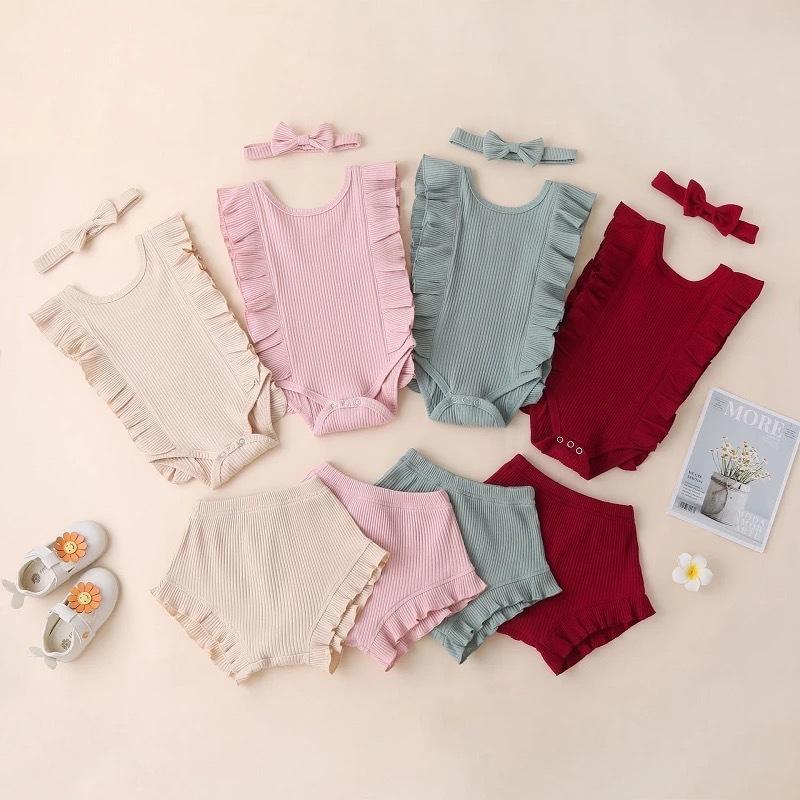 Detaliczna / Hurtownie Strój Baby Noworodki 3 sztuk Zestaw Dres Romper + PP Spodnie + Pałąk Designers Designers Odzież Odzież Dzieci Ustawia Boutique