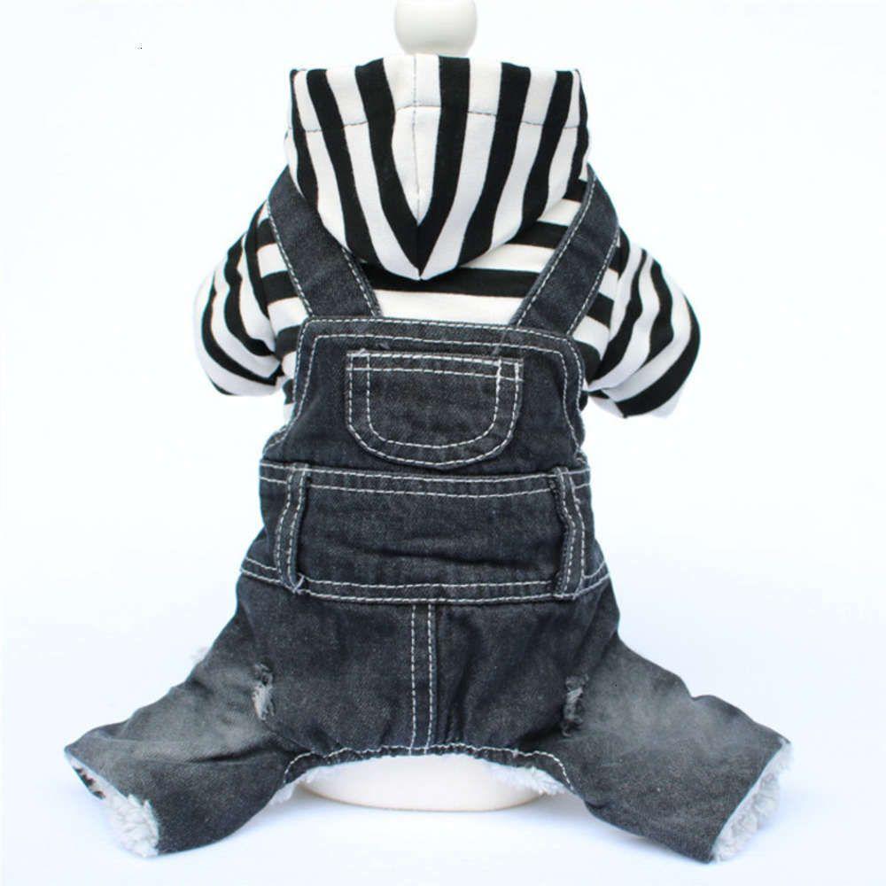 Suprimentos animal de estimação outono e inverno roupas ursinho miniatura cão listra quatro jeans legged um pedaço