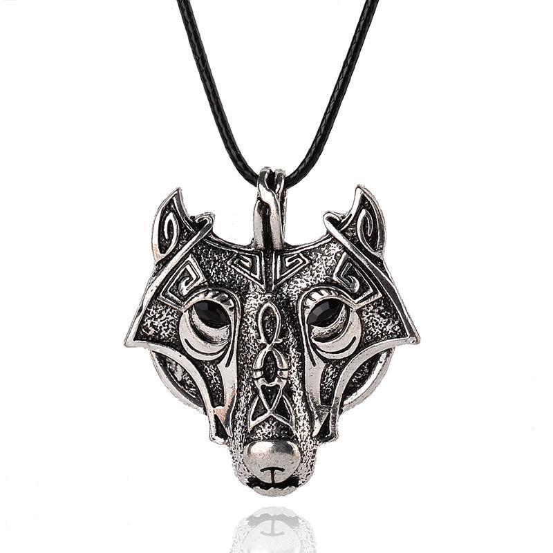 Punk Norse Vikings Wolf Head Collier Pendentif Vintage Animal Original Bijoux pour hommes Cadeaux Cadeaux