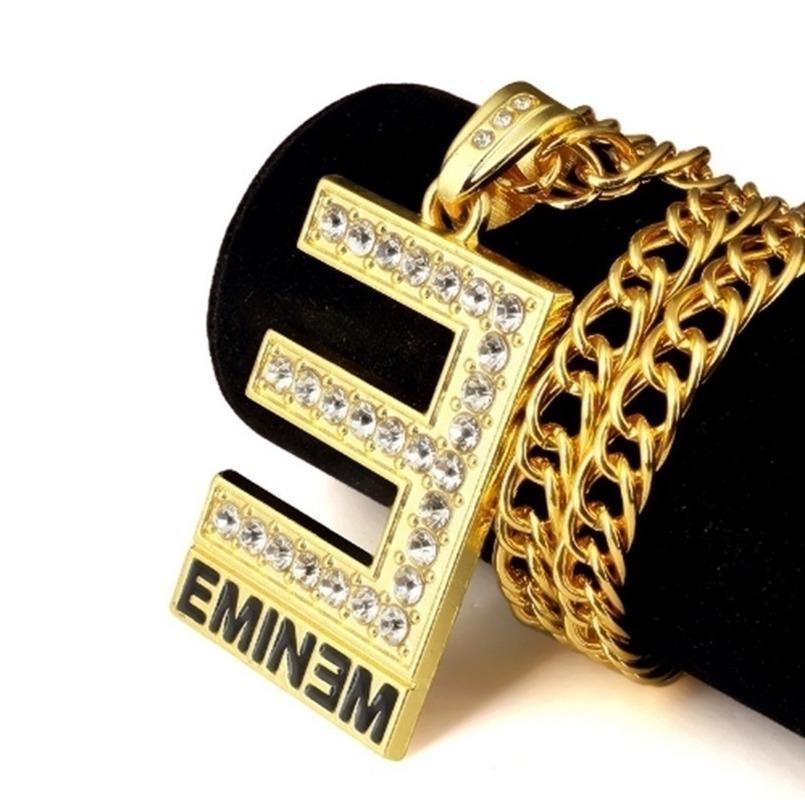 Yaratıcı Hip Hop Rhinestone Kadın Erkek Kolye Kolye Altın Renk Metal Tam Kristal Kolye Zincirleri