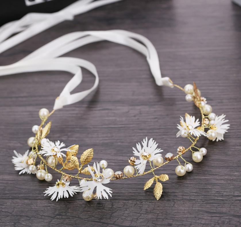 الأطفال ديزي مطرز تاج الأزياء اليد صنع الشريط أكاليل مجوهرات التصوير الفتيات اكسسوارات للشعر A6650