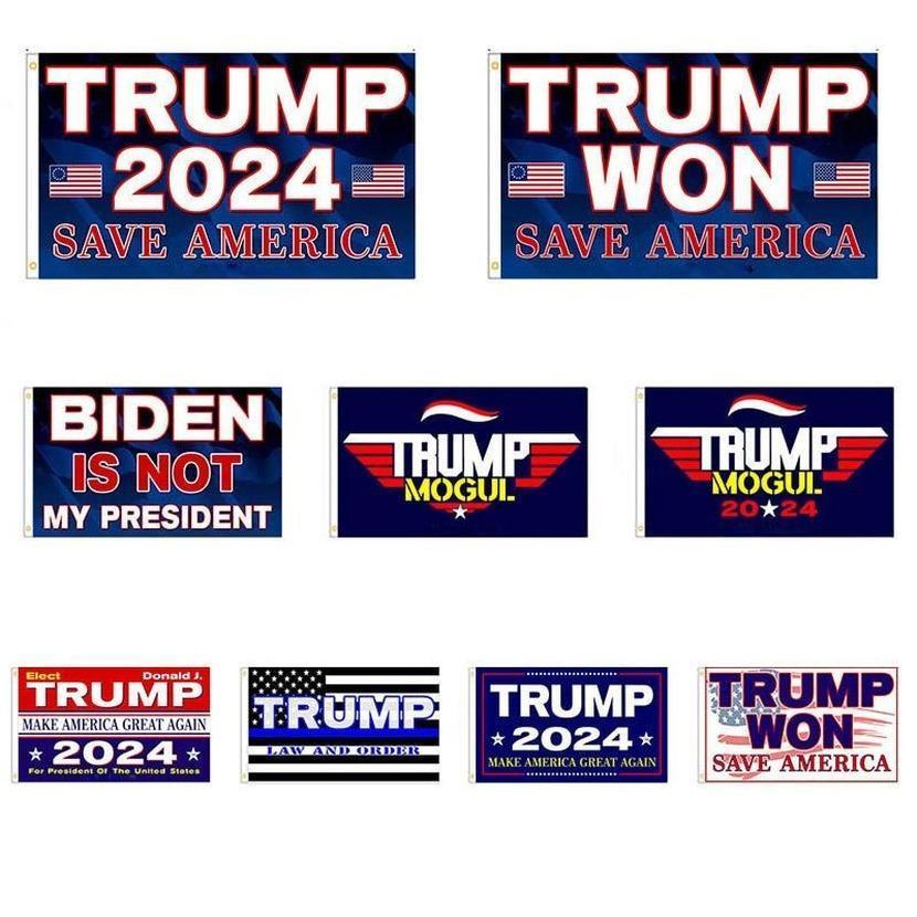 3 * 5 ft Trump Won Bandiera 2024 Bandiere elettorali Donald The Mogul Salva America 150 * 90cm Banner DHL spedizione 496