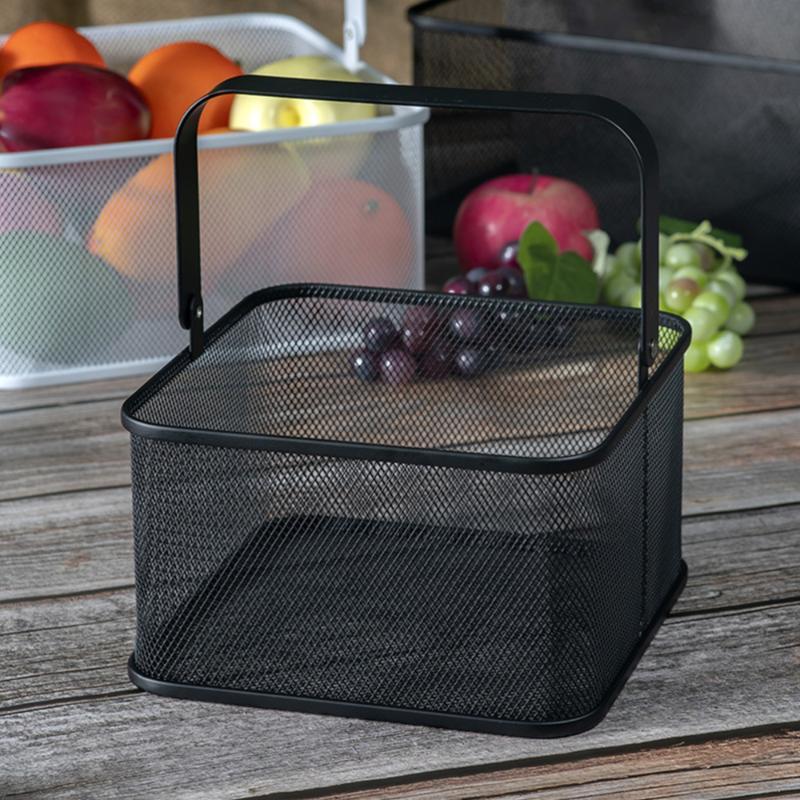 Home Eisen Hand Korb Quadratische Haushalt Metall Aufbewahrungsbox Küche Gemüsehalter Tisch Schwarz für (Kleine) Körbe