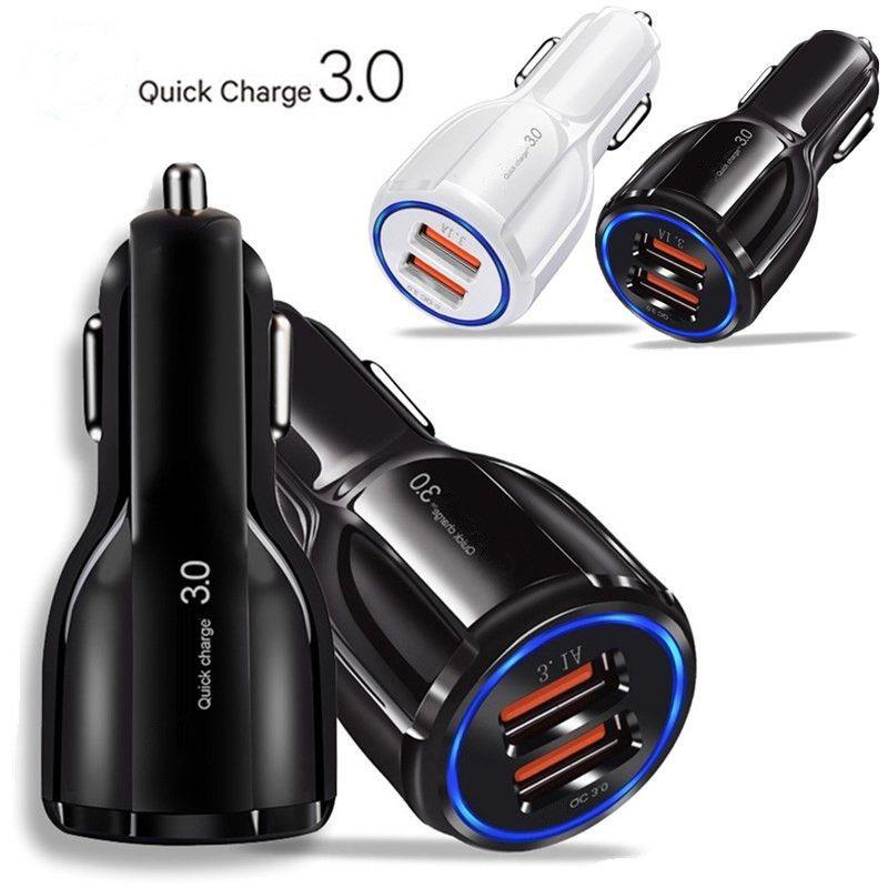 Schnelle Schnelle Ladegeräte 3.1A Dual USB-Anschlüsse Auto Netzteil Autoladegerät für Samsung S10 Note 10 HTC Android Phone GPS PC