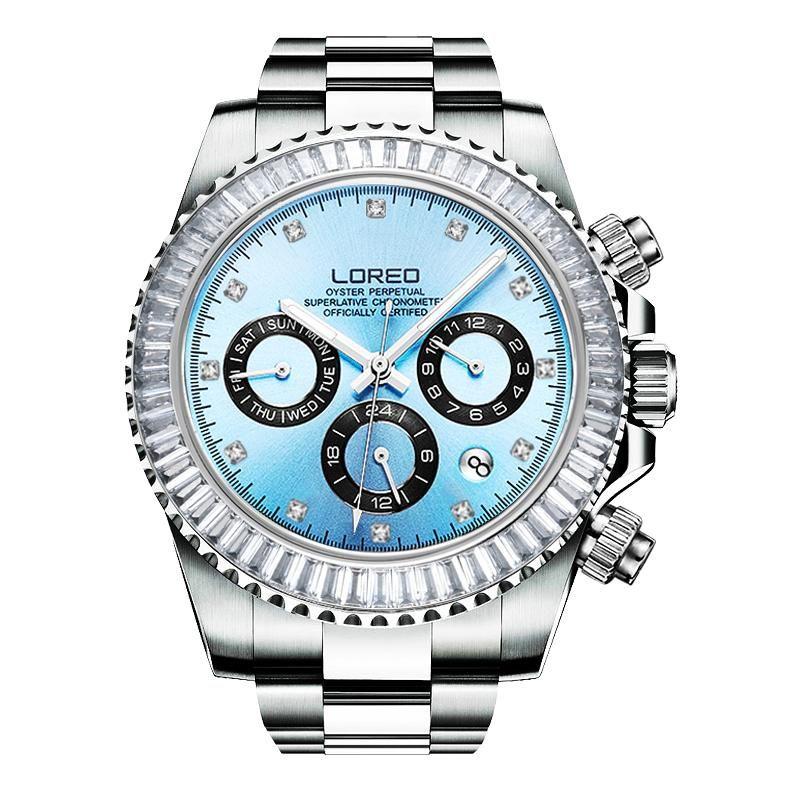 Safir Kristal 200 M Su Geçirmez erkek Spor İzle İşlevli Moda Erkek Saatler Erkek Klasik Tasarım Çelik Arama Saat Saatı