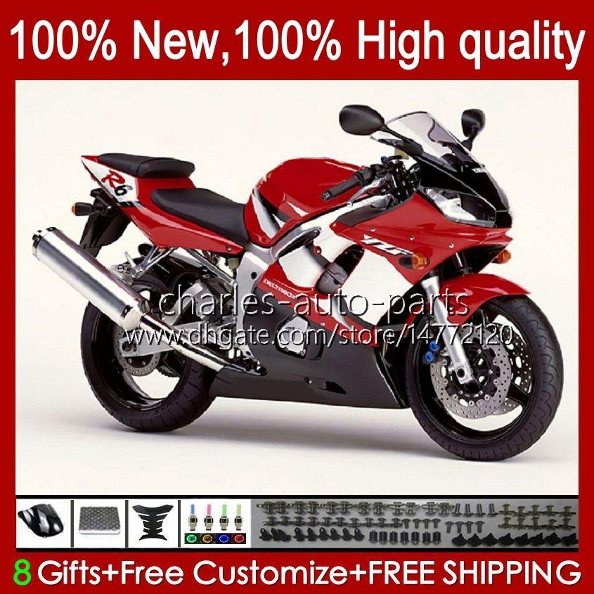 Yamaha Yzf-600 YZF R6 R 6 600CC YZFR6 1998 1999 00 01 02 차체 1NO.30 YZF 600 CC COWLING YZF-R6 98-02 YZF600 98 99 2000 2001 2002 ABS 페어링 키트 공장 레드 BLK