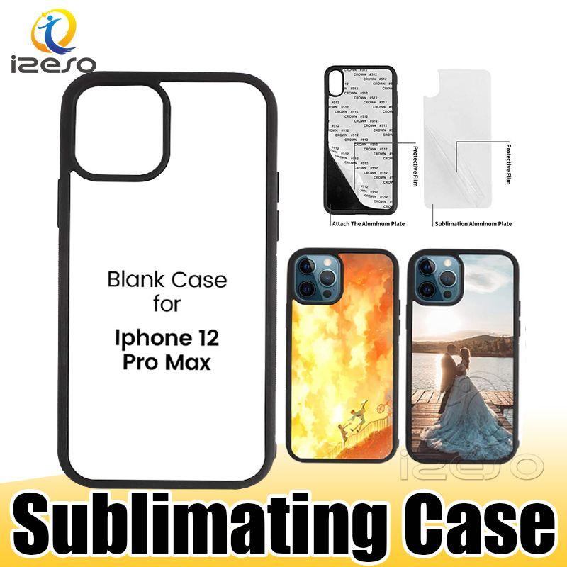 TPU + PC puste 2D Sublimation Przypadki DIY Designer Transferowy Case Telefon dla iPhone 13 12 Pro Max 11 XR XS 8 Plus Samsung S21 Izeso